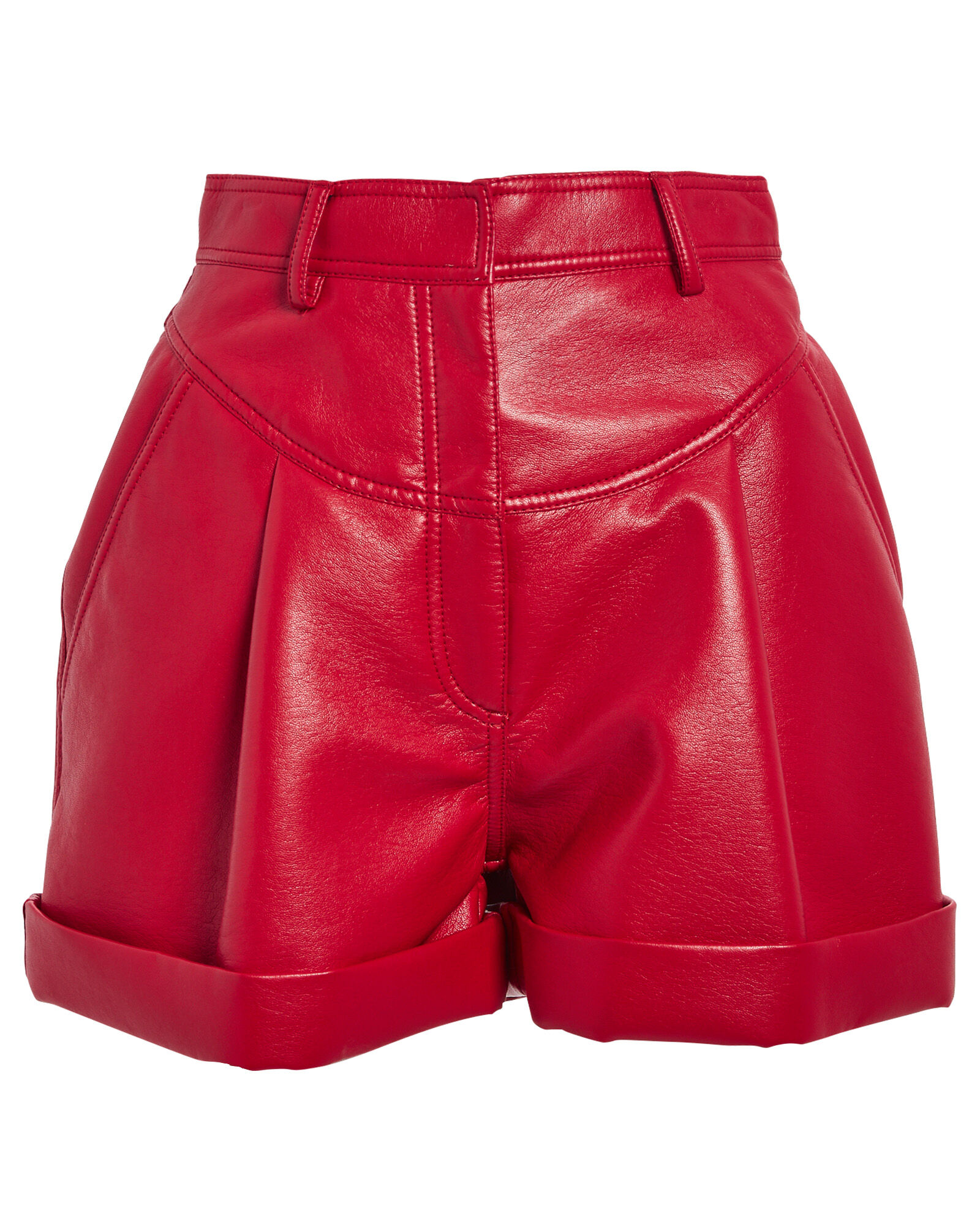 High-Waist Faux Leather Shorts, RED, hi-res