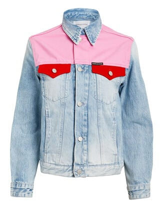 Pink Colorblocked Denim Jacket, LIGHT PINK/RED/BLUE DENIM, hi-res