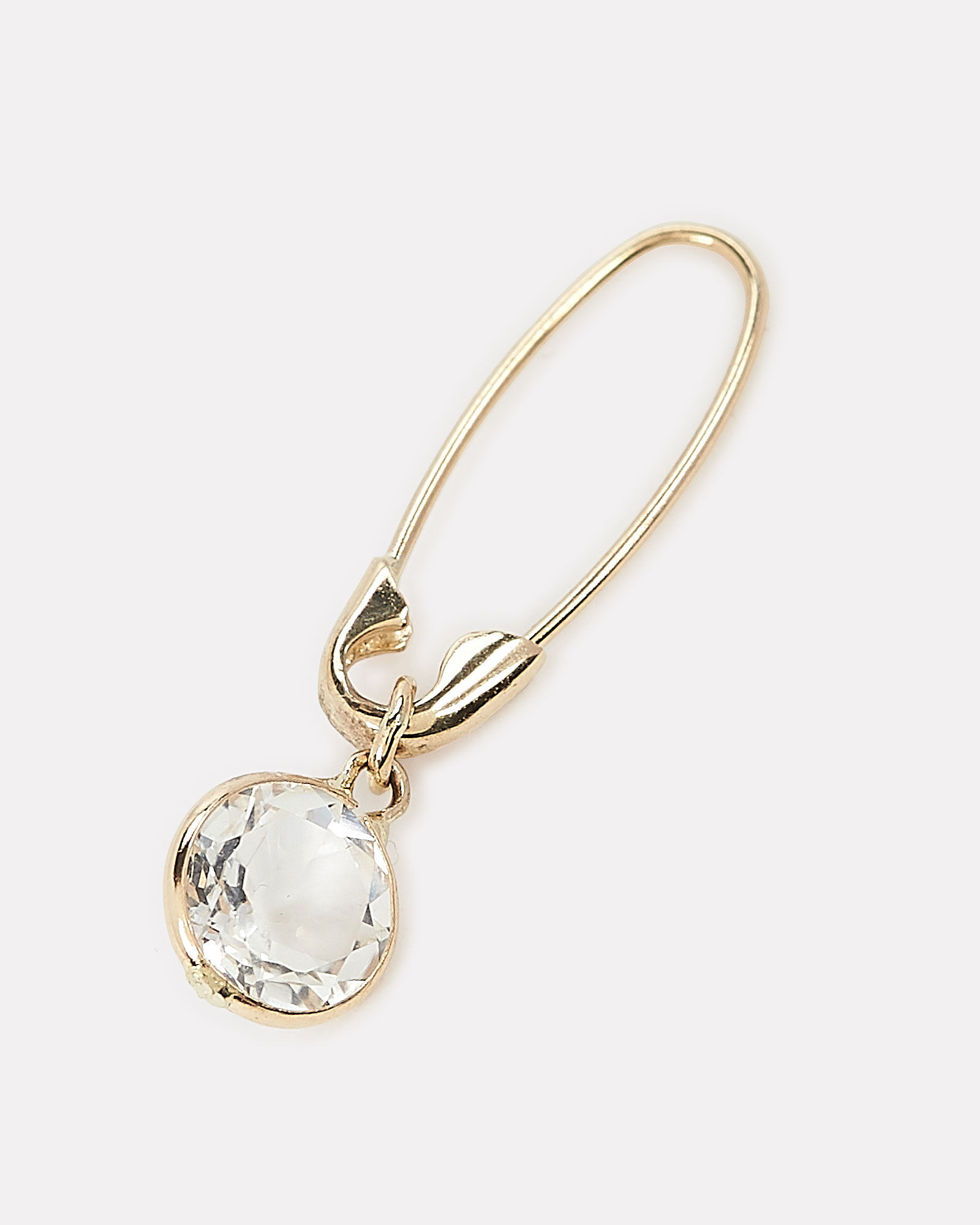 Topaz Bezel Safety Pin Earring, GOLD, hi-res