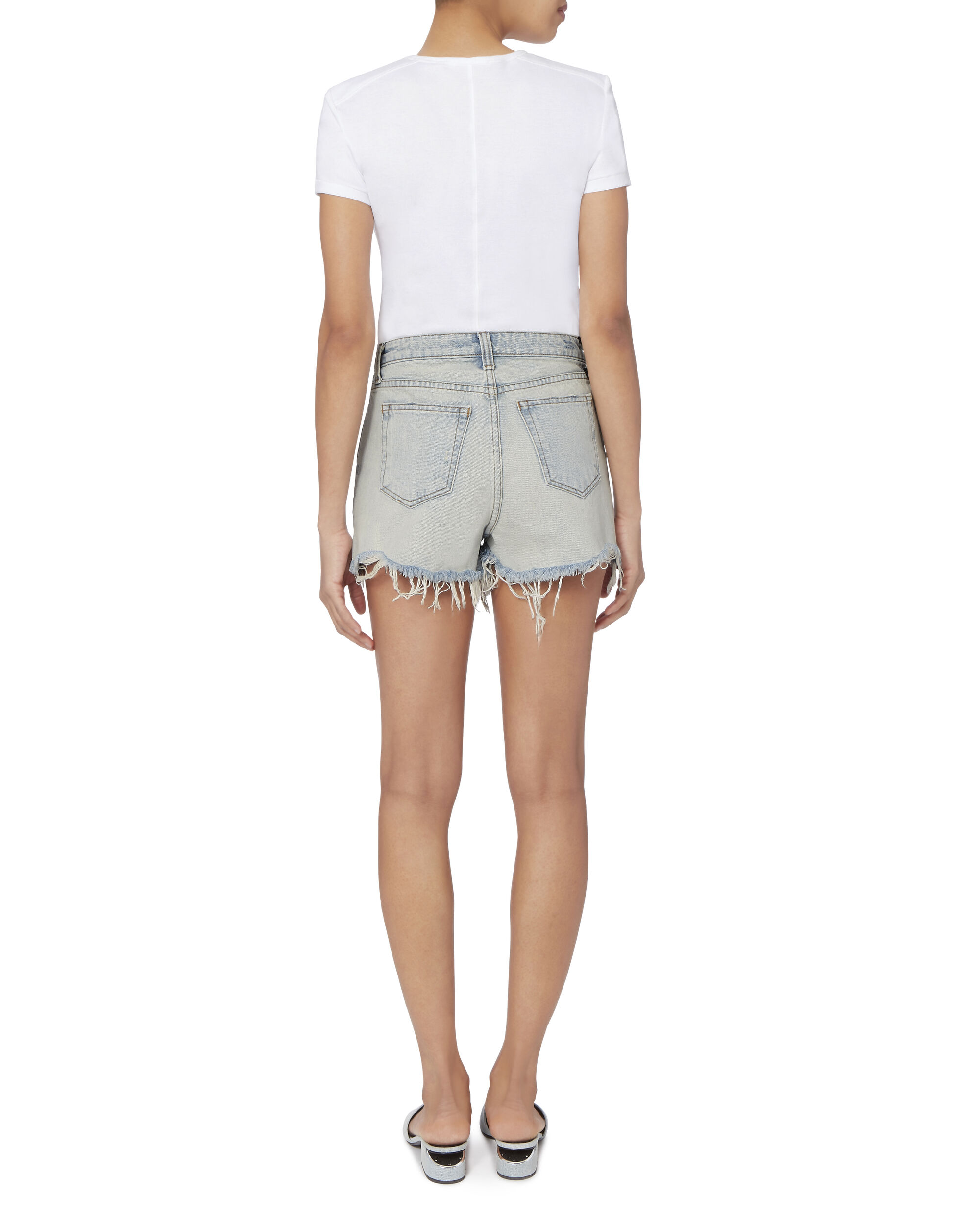 Cutoff Denim Shorts, BLEACHED DENIM, hi-res