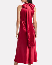 Michelle High Neck Satin Dress, RED, hi-res