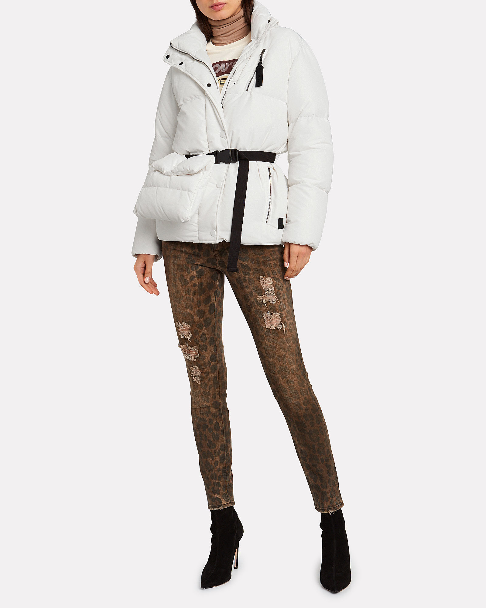 New Boo Belted Puffer Jacket, WHITE, hi-res