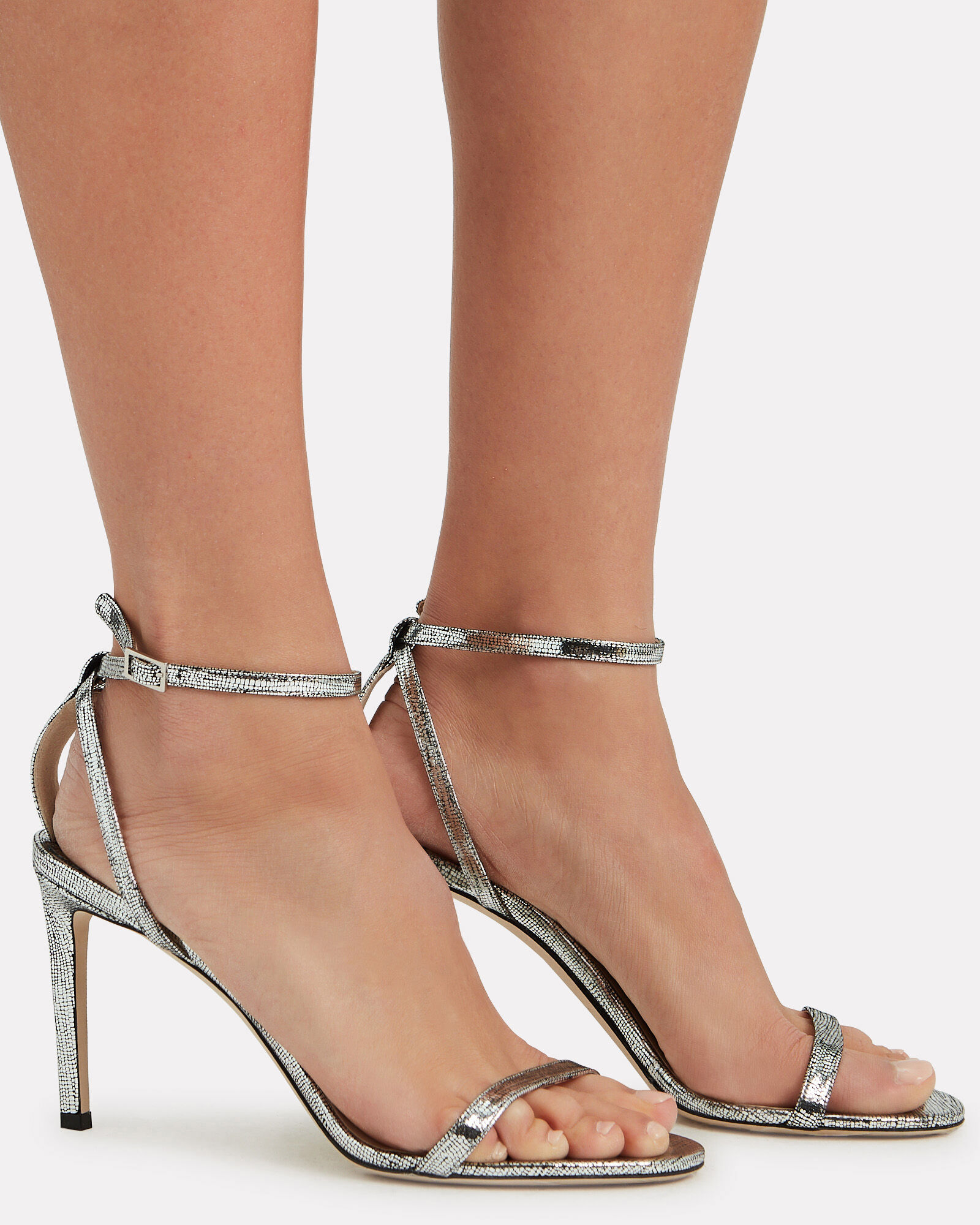 Minny 85 Leather Sandals, SILVER, hi-res