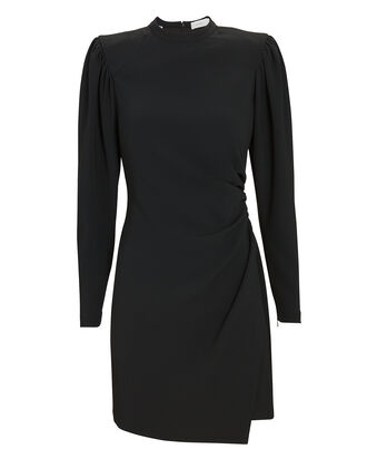 Jane Draped Crepe Dress, BLACK, hi-res