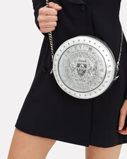 Disco Studded Silver Circle Crossbody Bag, SILVER LEATHER, hi-res