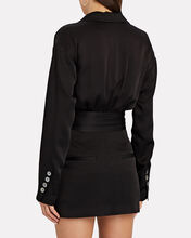 Cyrus Satin Suit Dress, BLACK, hi-res