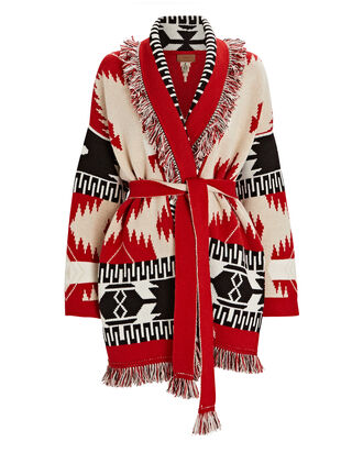 Icon Cashmere-Wool Wrap Cardigan, RED/BLACK/CREAM, hi-res