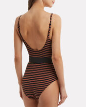 Nina Belted One Piece Striped Swimsuit, BLACK, hi-res