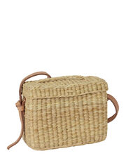 Roge Blue Pom Straw Basket Bag, BEIGE, hi-res