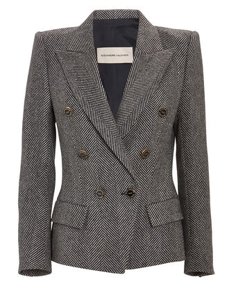 Double-Breasted Wool Herringbone Blazer, , hi-res
