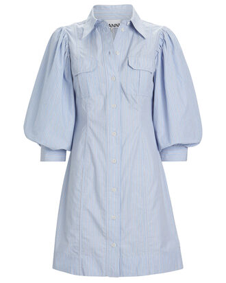 Striped Puff Sleeve Shirt Dress, BLUE-LT, hi-res