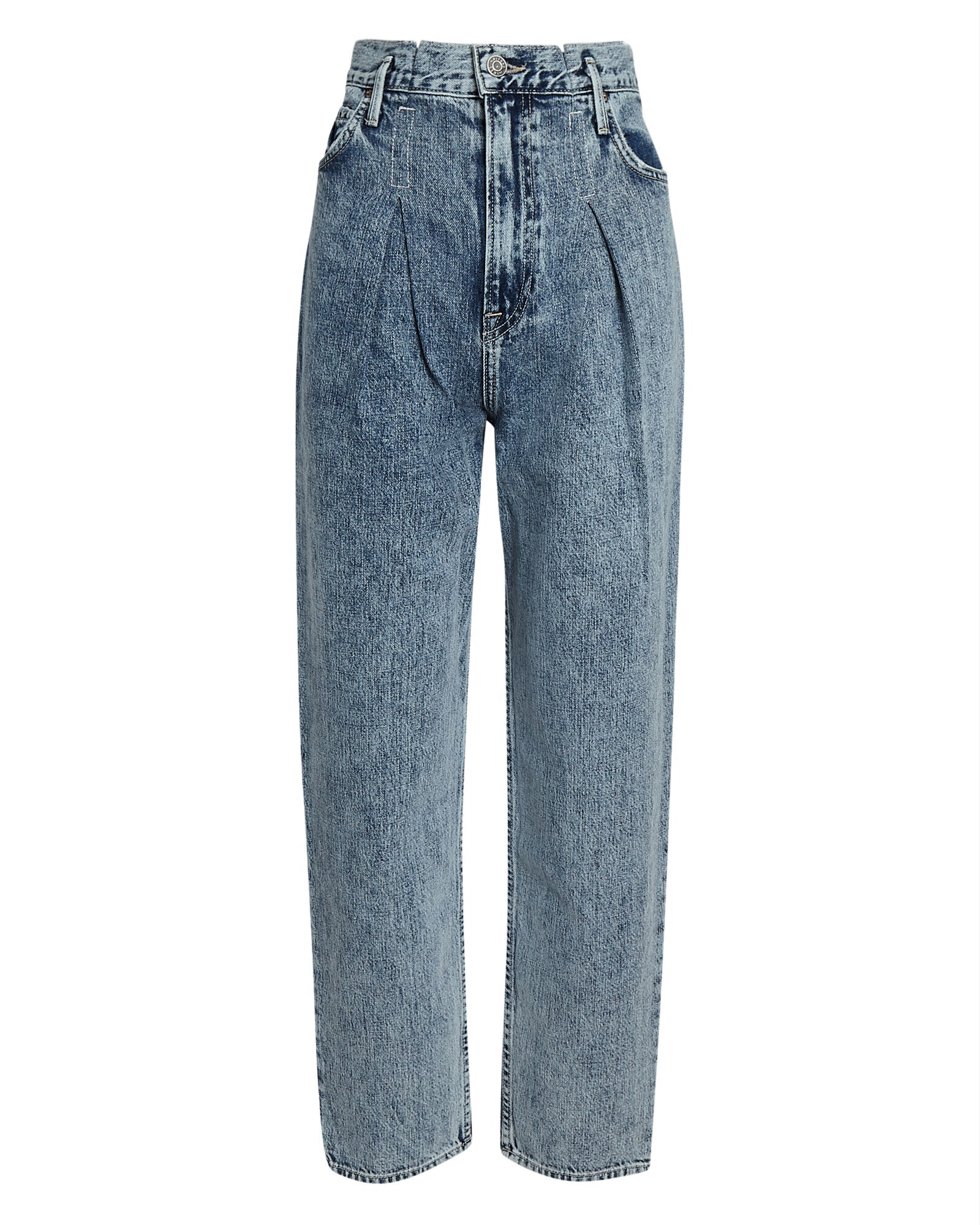 Teagan Pleated Straight-Leg Jeans, DENIM, hi-res