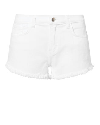Zoe White Denim Shorts, WHITE, hi-res