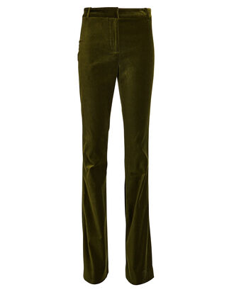 Colt Flared Velvet Pants, OLIVE, hi-res