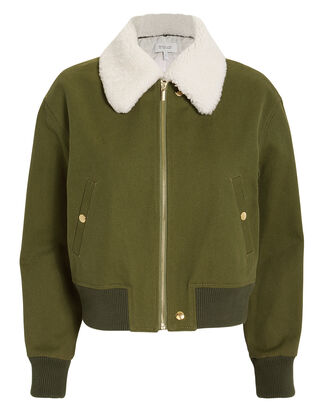 Shearling Collar Army Green Bomber Jacket, GREEN/IVORY, hi-res