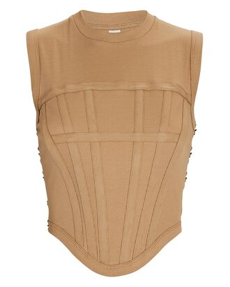Cotton Corset Tank, BEIGE, hi-res