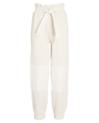 Layla Paperbag Cotton Terry Sweatpants, IVORY, hi-res
