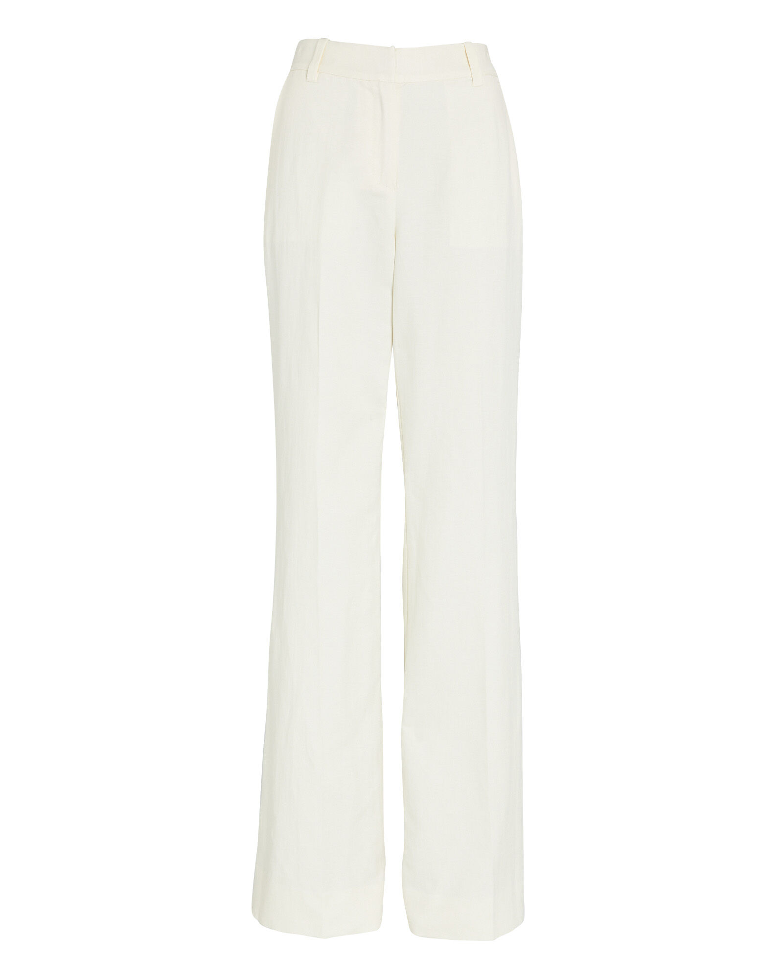 Wide-Leg Linen-Blend Pants, IVORY, hi-res