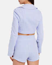 Peace Cropped Jacket, PERIWINKLE, hi-res