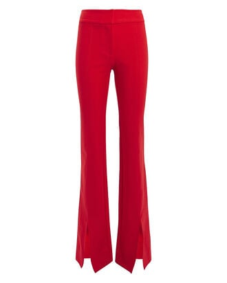 Maeve Flared Slit Hem Trousers, RUBY, hi-res