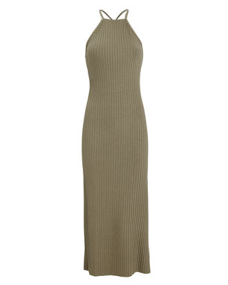 Suspension Ribbed Midi Dress, OLIVE/ARMY, hi-res