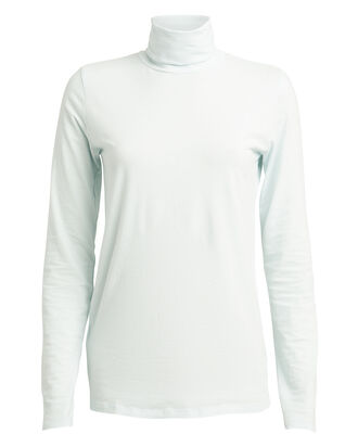 Slim Fit Cotton Turtleneck, POWDER BLUE, hi-res