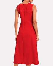Pleated Flare Midi Dress, RED, hi-res