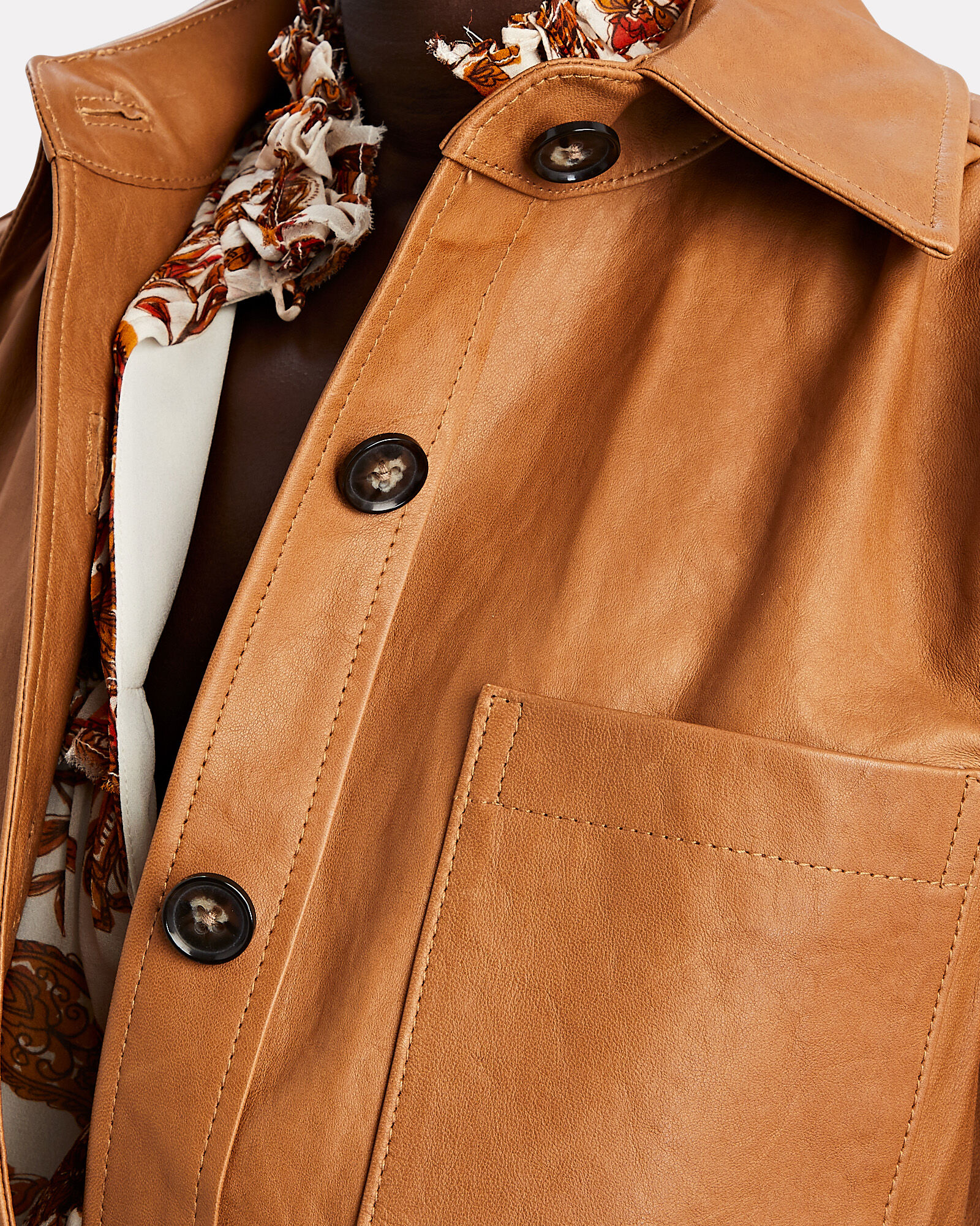 Safari Leather Jacket, BROWN, hi-res