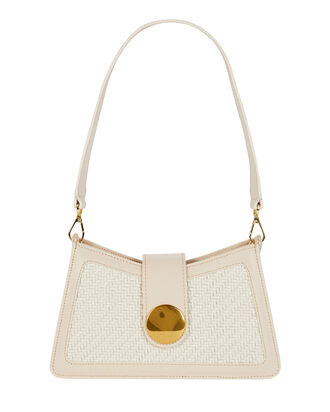 Baguette Leather Shoulder Bag, BEIGE, hi-res