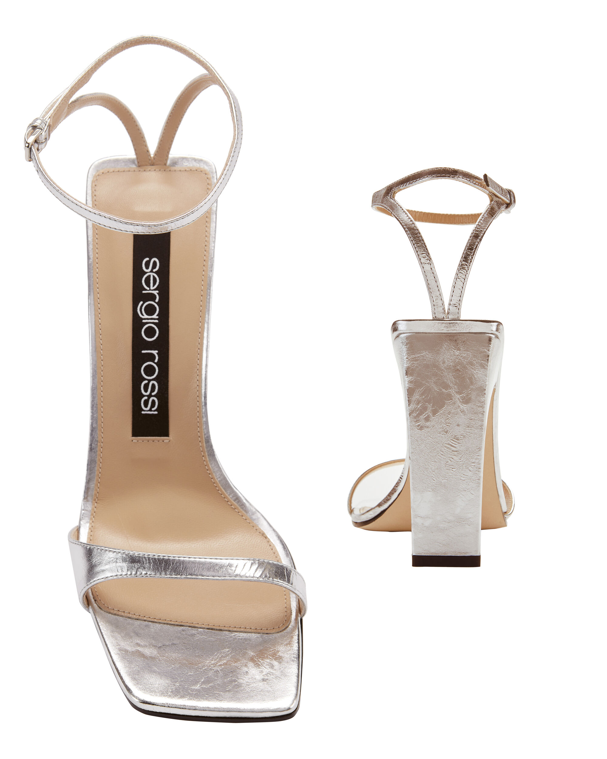 sr1 Silver Laminated Leather Sandals, METALLIC, hi-res