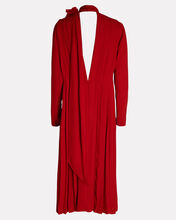Scarf Neck Crepe Dress, RED, hi-res