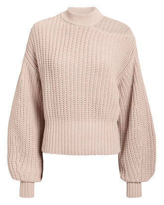 One Shoulder Pink Knit Jumper, PINK, hi-res