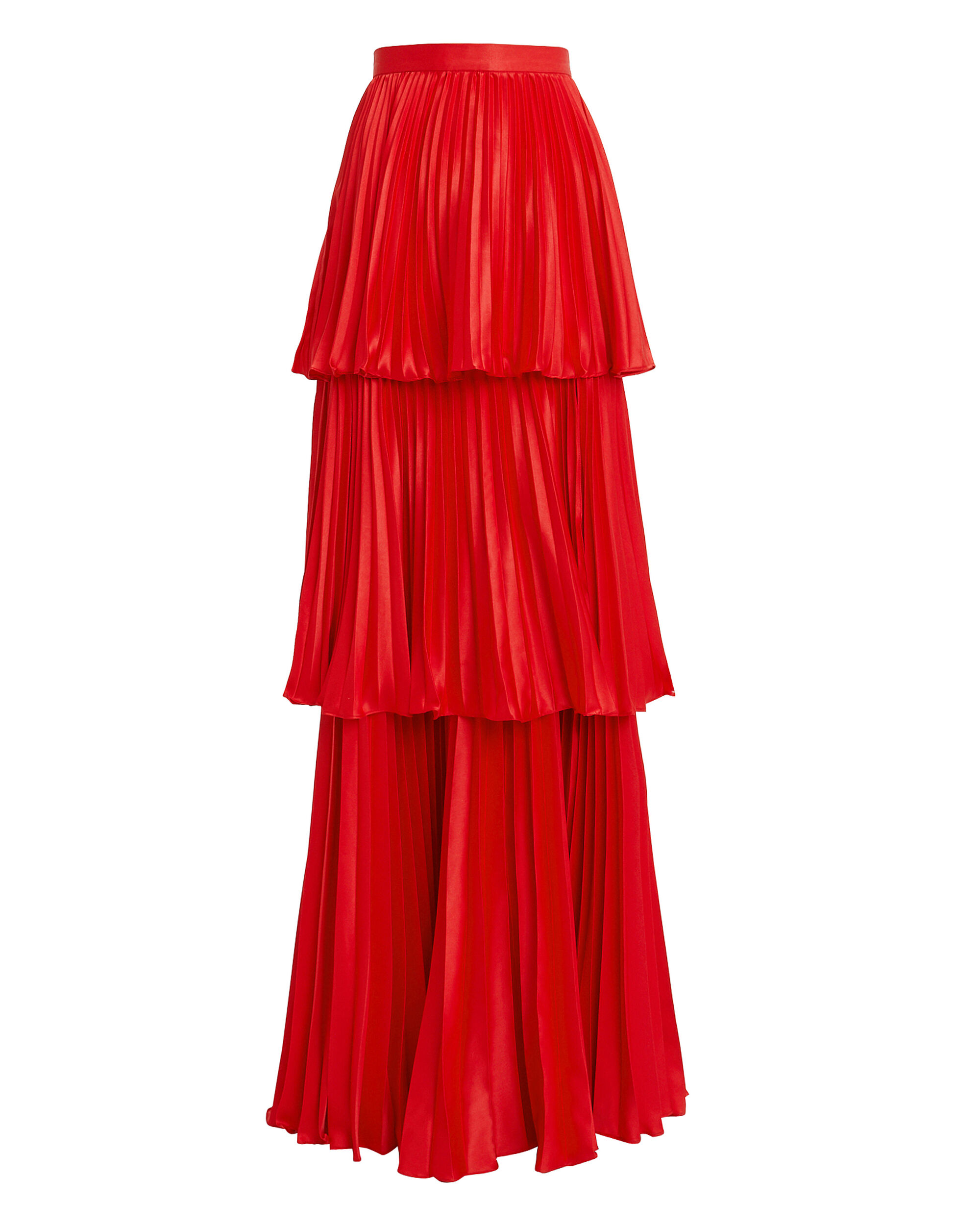 Eve Tiered Maxi Skirt, RED, hi-res