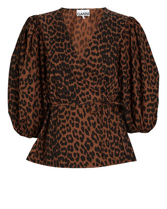 Leopard Poplin Wrap Top, MULTI, hi-res