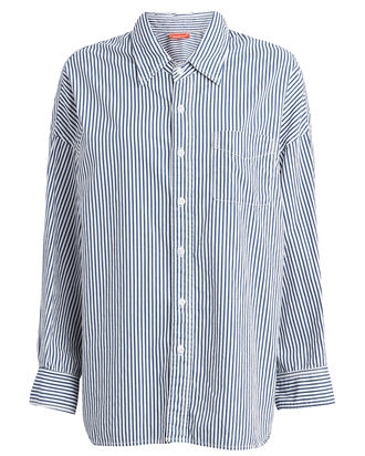 Striped Cotton Button Down Shirt, BLUE/WHITE, hi-res