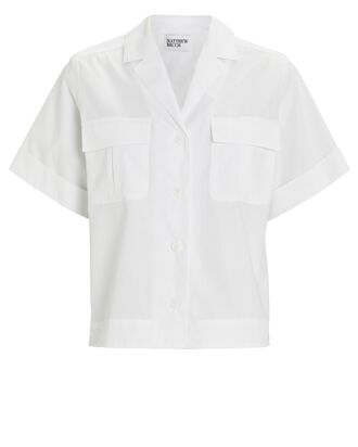Safari Poplin Camp Shirt, WHITE, hi-res