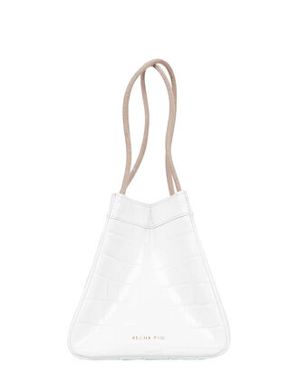 Rita Croc-Embossed Leather Bag, IVORY, hi-res