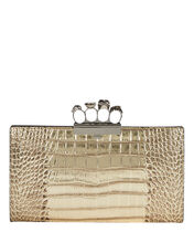 Skull Four Ring Embossed Clutch, GOLD, hi-res