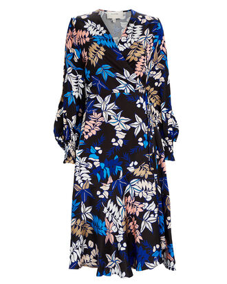 Jamie Floral Satin Wrap Dress, BLUE FLORAL, hi-res