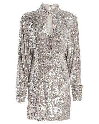 Lauper Sequin Mini Dress, SILVER, hi-res