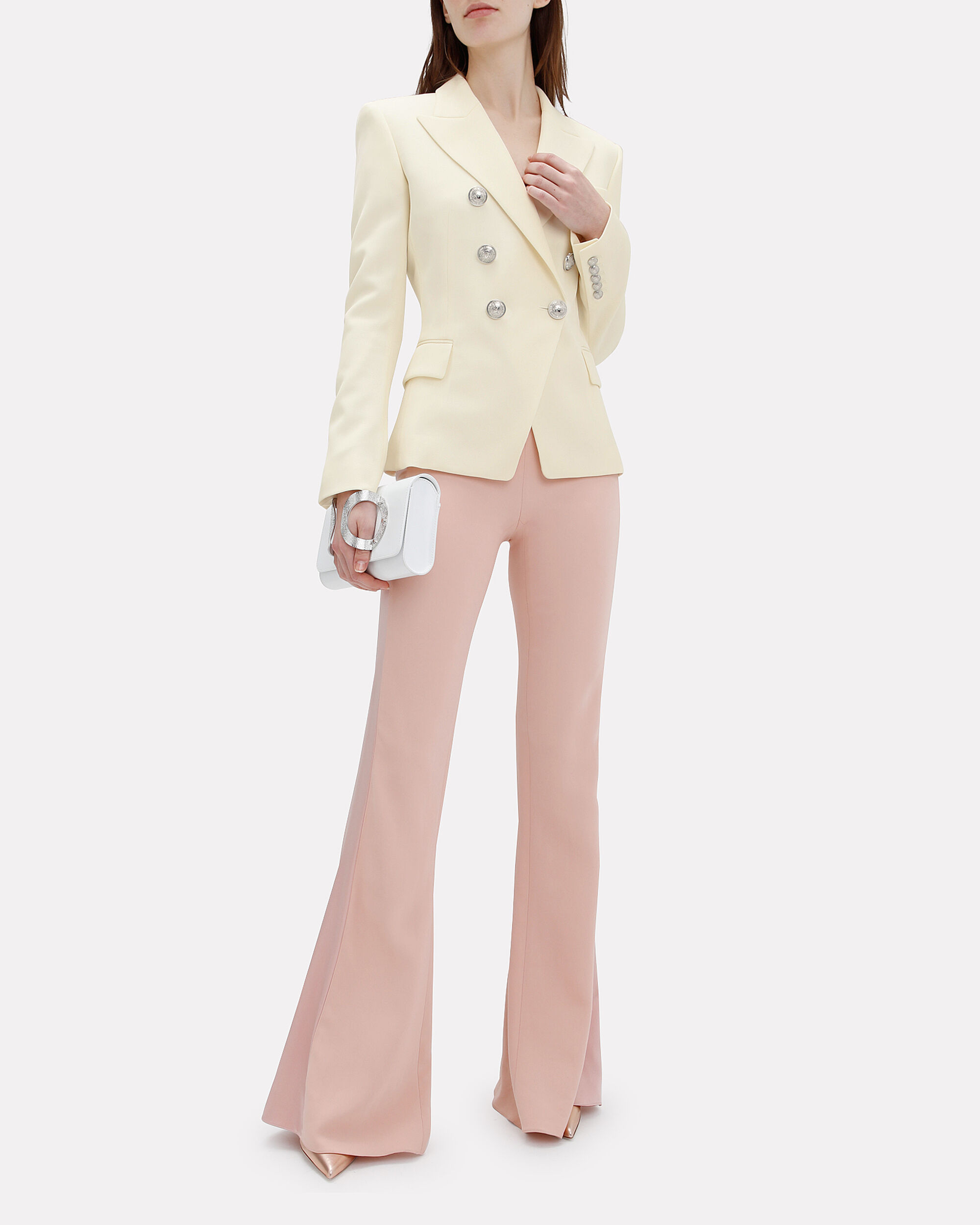 Classic Double-Breasted Ivory Blazer, IVORY, hi-res