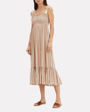 Piper Striped Midi Dress, BROWN/IVORY, hi-res