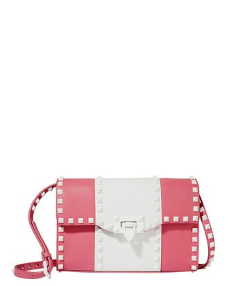 Rockstud Striped Medium Shoulder Bag, BLUSH, hi-res