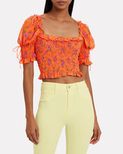 Peony Smocked Blouse, ORANGE, hi-res