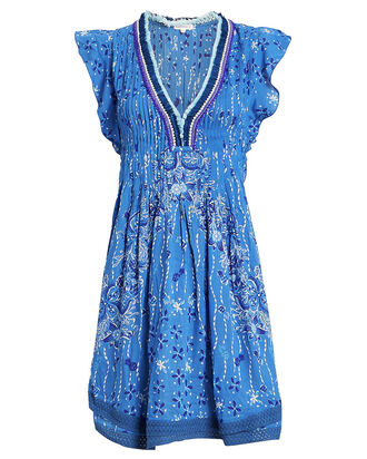 Sasha Lace-Trimmed Paisley Dress, BLUE/WHITE PAISLEY, hi-res