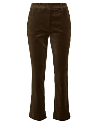 Faithful Velvet Cropped Flare Pants, BROWN, hi-res