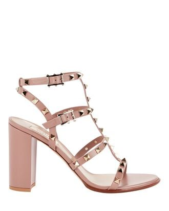 Rockstud Gladiator Heeled Sandals, DARK BLUSH, hi-res