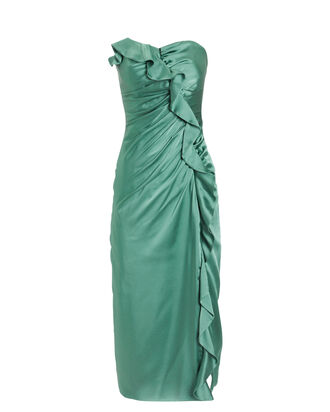 Sateen Ruffle Bustier Dress, JADE, hi-res