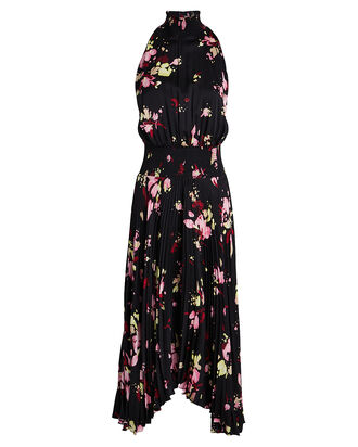 Renzo Floral Pleated Midi Dress, BLACK FLORAL, hi-res