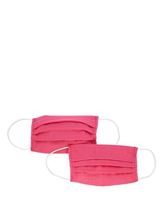 Pleated Cotton Face Mask 2-Pack, PINK, hi-res